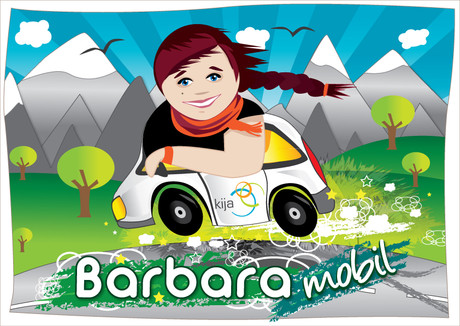 Illustration: Barbara im Beratungsmobil.