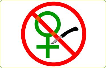 Symbol gegen Genitalverstümmelung.