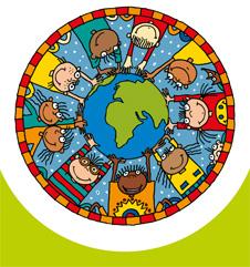 Illustration der Weltkugel mit Kindern.