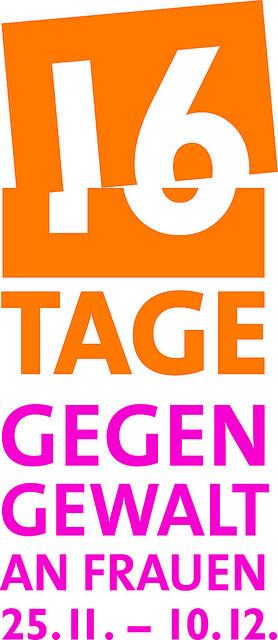 """Schriftzug """"16 Tage gegen Gewalt an Frauen""""."""