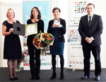 (v. li.) Marga Pröhl (EIPA-Generaldirektorin), Open.Heart-Projektleiterin Manuela Geimer, Kinder- und Jugendanwältin Andrea Holz-Dahrenstaedt, Norbert Kis (EIPA, Board of Governors)