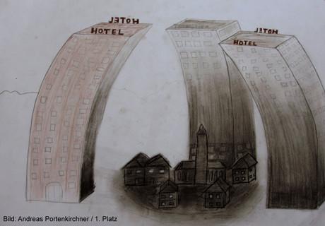 Zeichnung eines apokalyptischen Tourismusdorfes.