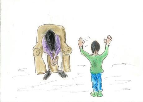 Illustration eines Kindes, das vor der kranken Mutter steht.