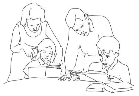 Geschwister beim Hausübungmachen