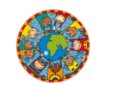 Kinder auf der Weltkugel