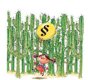 Illustration von Thomas Wizany - ein Mädchen läuft mit Luftballon durch einen Wald aus Kakteen.