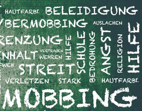 Tafel mit verschiedenen Begriffen rund um das Thema Mobbing.