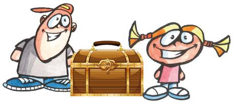 Zeichnung zweier Kinder mit einer Schatzkiste