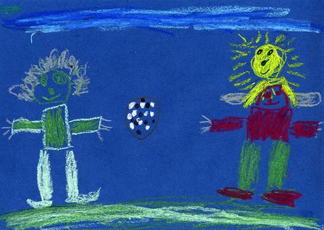 Zeichnung Kinder beim Ballspielen
