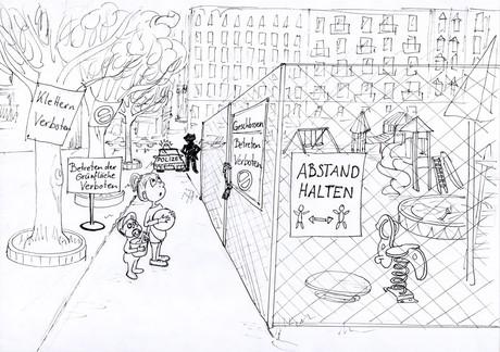 Illustration eines gesperrten Spielplatzes, davor stehen zwei Kinder mit enttäuschten Gesichtern.