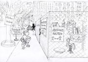 Skizze eines abgesperrten Spielplatzes während Corona, davor stehen zwei Kinder mit ratlosen Gesichtern.