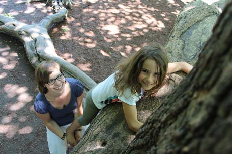 Ein Mädchen klettert auf einen Baum, hinter ihr die Mentorin, die sie absichert und unterstützt.