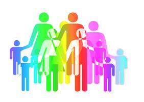 Grafisch dargestellte Familie.