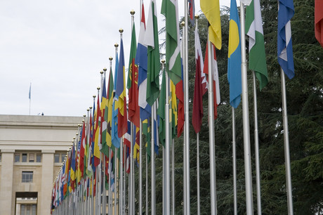 Fahnen der Länder vor der UNO in Genf.