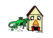 Drako der Kinderrechtedrache verschiebt das kija-Haus.