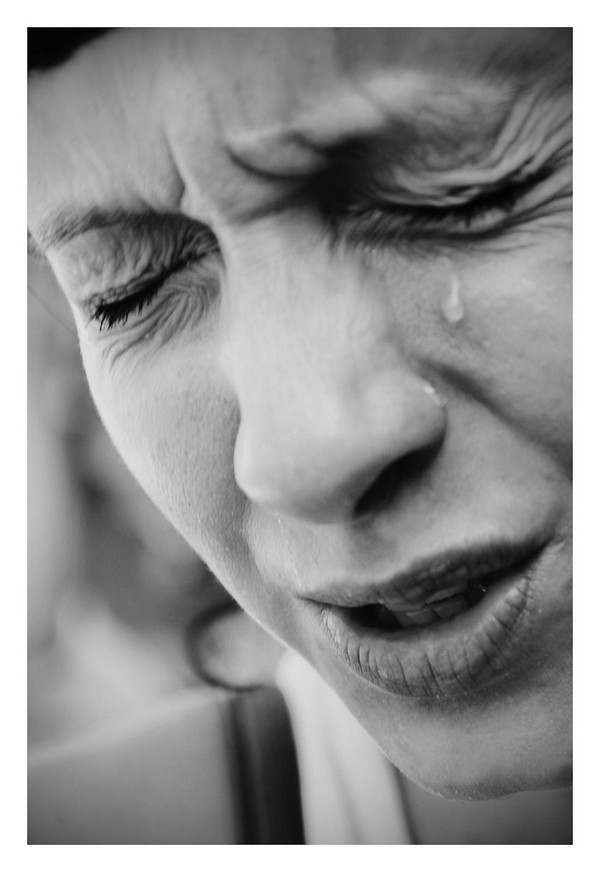 Weinendes Gesicht.
