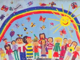 Kinder unter dem Regenbogen