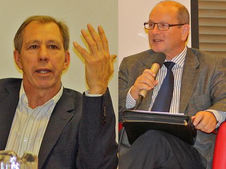 Die Abgeordneten Cyriak Schwaighofer (Die Grünen) und Friedrich Wiedermann (FPÖ).