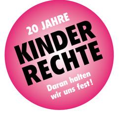 """Logo """"20 Jahre Kinderrechte - Daran halten wir uns fest!"""""""