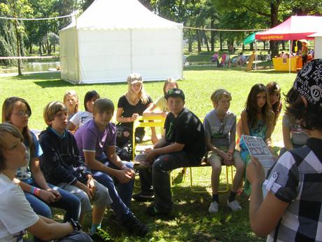 """Kinderrechte-Workshop der StreitschlichterInnen in """"Mini-Salzburg""""."""
