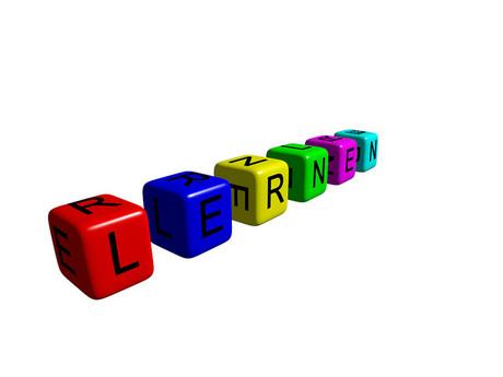 """Würfel mit dem Begriff """"Lernen""""."""