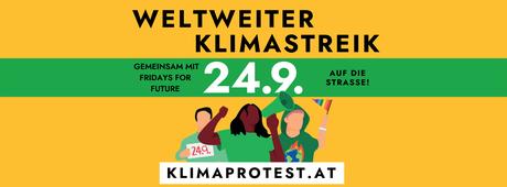 Zeichnung protestierender junger Menschen und der Aufruf am Klimastreik teilzunehmen