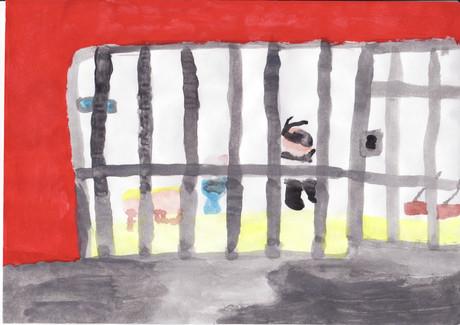 Kinderzeichnung einer Gefängniszelle.