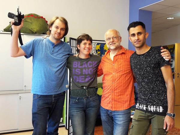 v. li.: Tobias Hammerle (Kamera), Veronika Weis (Konzeption), Hermann Lasselselsberger (Berater) & Hussein Mahdi (Schauspieler)