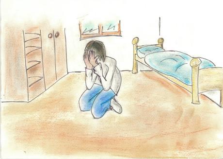 Zeichnung eines verzweifelten Kindes.
