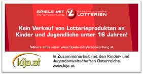Aufkleber der Kinder- und Jugendanwaltschaften Österreichs und der österreichischen Lotterien.