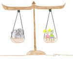 Eine Waage in Balance mit den Kinderrechten.