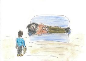 Zeichnung eines Kindes, das vor der Mutter steht, die auf der Couch liegt.
