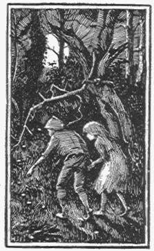 Druck von Hänsel und Gretel im Wald.